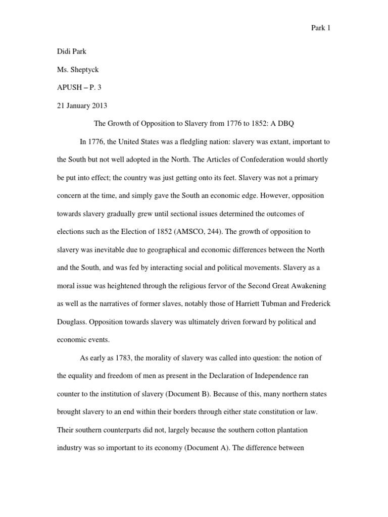 Didi Park Slavery DBQ | Abolitionism In The United States ...