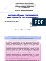 Actividades, Técnicas es Instrumentos para evaluar (