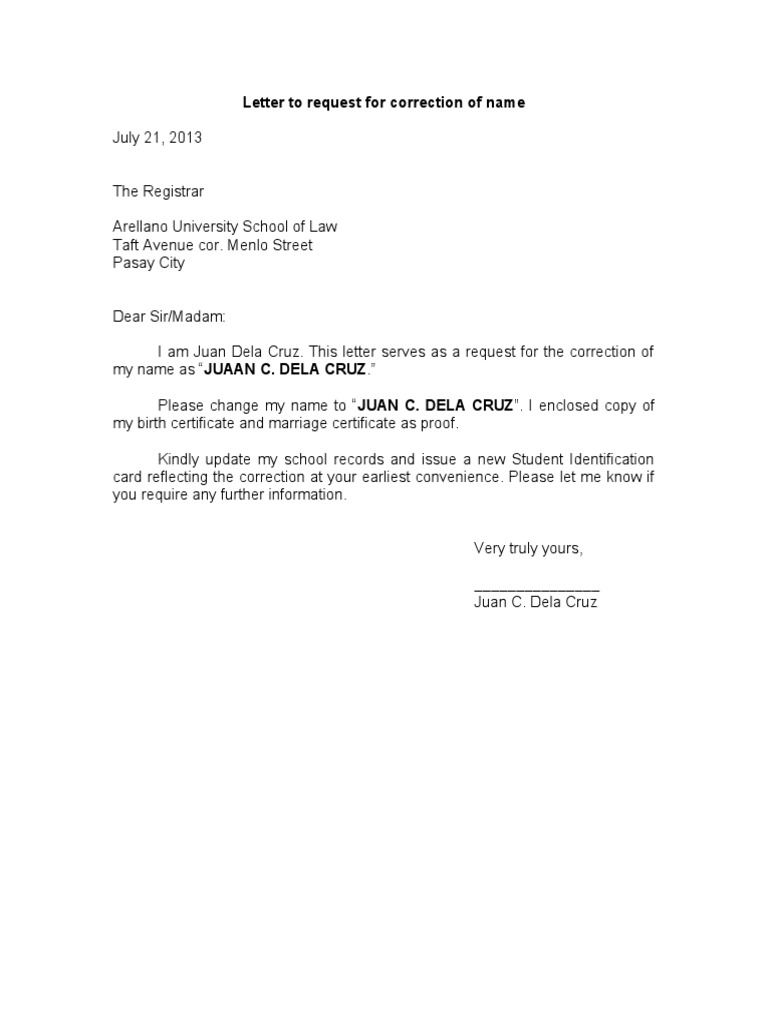 Letter Request for Correction of Name