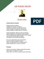 QUÉ PUEDO DECIR - poemas de Daniel Leikin