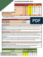 ENAM 2013 - Tabla de Especificaciones