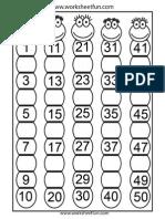 Preschool Kids Find Missingnumbers 1-50 Bug-1 Pattern