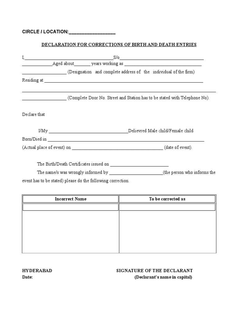 Ghmc application form for correction in birth or death certificate ghmc application form for correction in birth or death certificate politics government aiddatafo Image collections