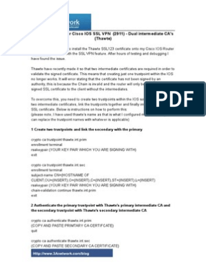 SSL Certificates for Cisco IOS SSL VPN (2911 Router)   Computing