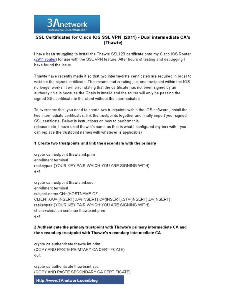 Ssl Certificates For Cisco Ios Ssl Vpn 2911 Router Technology