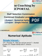 SSC CGL Numerical Aptitude Simple Interest