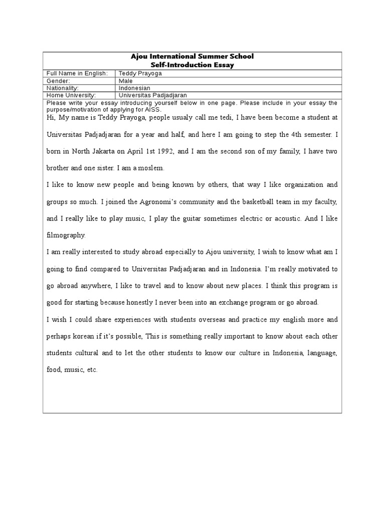 personal essay introduction examples