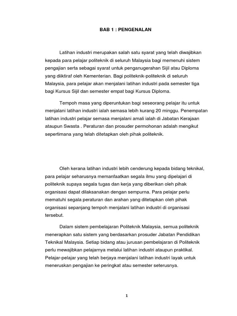 Contoh Final Report Latihan Industri Politeknik Jabatan Perdagangan