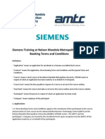 Siemens Training Booking Terms and Conditions