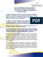 Comunicado de Prensa Pliego de Cargos Contra Jocho Garcia