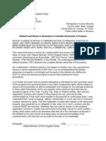 Affidavit of Allodial Custom
