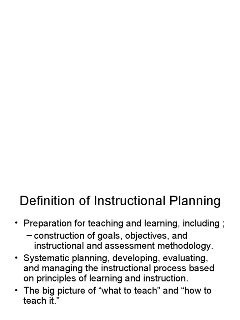 Instructional Planning Educational Assessment Learning