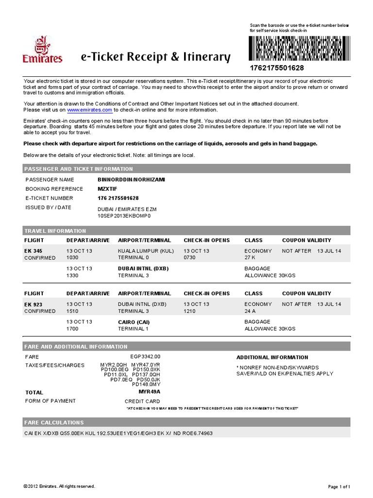 Emirates E Tickets Example