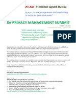 Program - SA Privacy Management Summit - 4 March 2014 Jhb