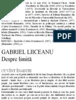 Despre Limita - Gabriel Liiceanu