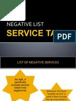 Negative List of service tax