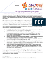 2014 FastMed Althetic Injury Advisory for Parents and Coaches of Child Athletes in North Carolina