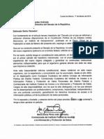 Oficio de María Elena Pérez-Jaén al Presidente de la Mesa Directiva del Senado.