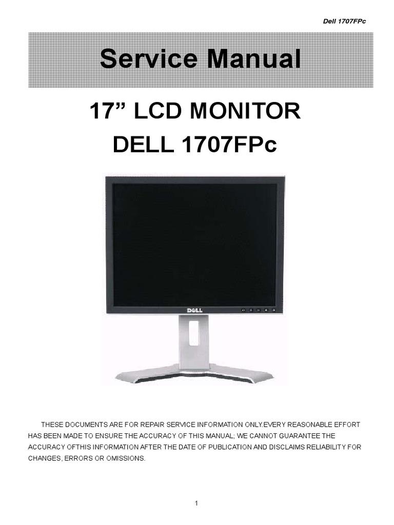 dell 1707fpc service manual computer monitor contrast vision rh scribd com dell e173fp lcd monitor service manual dell e193fp monitor service manual