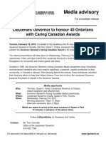 Lieutenant Governor to honour 40 Ontarians with Caring Canadian Awards