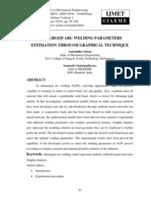 Submerged Arc Welding Parameters Artificial Neural Network Welding