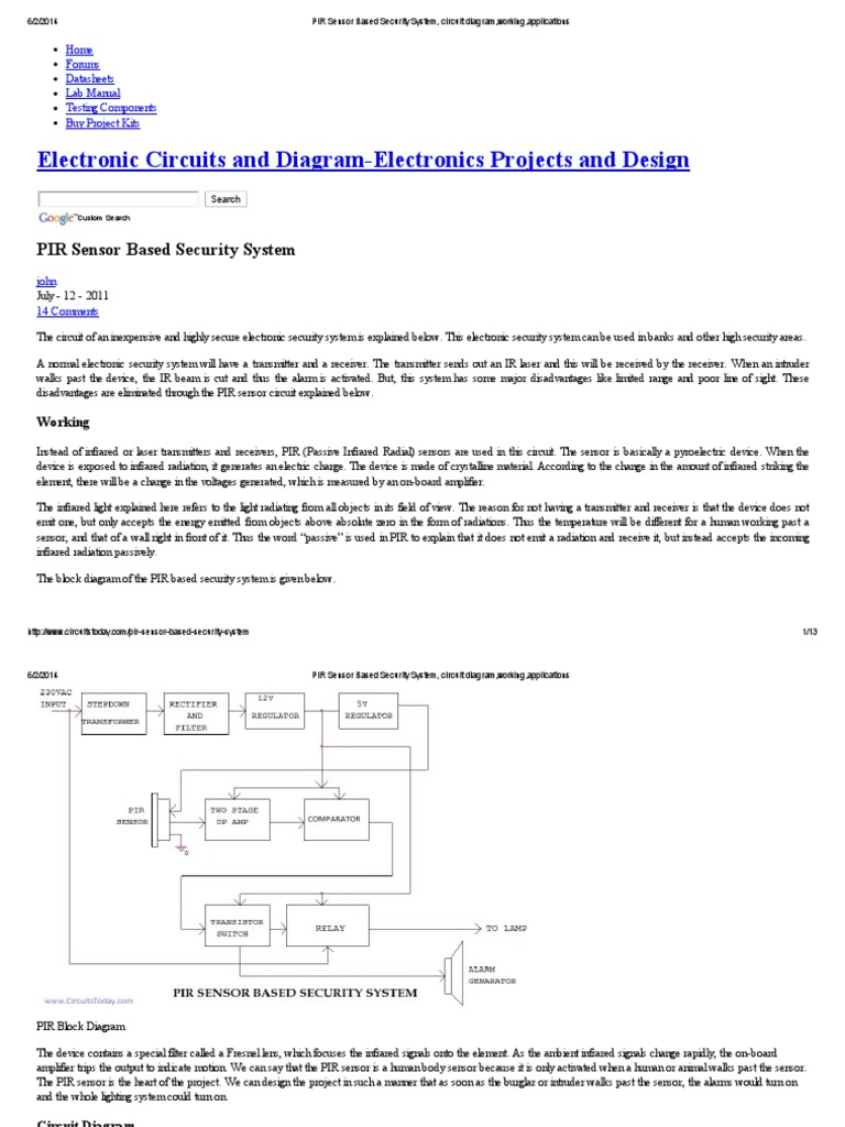 Pir Sensor Based Security System Circuit Diagramworking Tone Generator Circuits Electronic And Diagramelectronics Diagramworkingapplications Alarm Amplifier