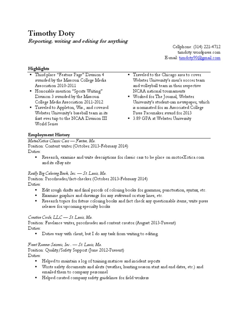 Tim Doty resume | Editing | Copy Editing
