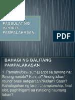 Pagsulat Ng Isports