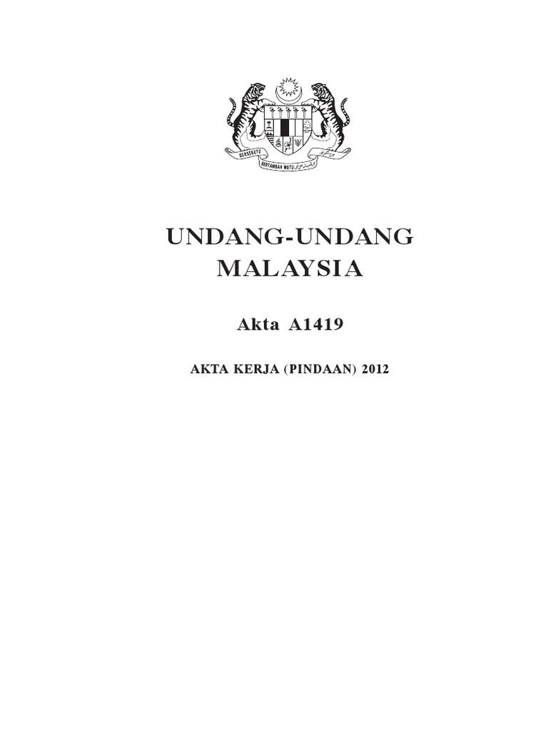 Akta Pekerjaan 1955 Pindaan 2012