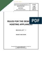 FEM 1.001 Rules for the Design of Hoisting Appliances