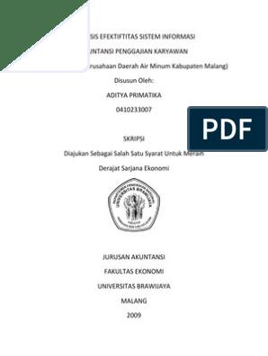 Analisis Efektiftitas Sistem Informasi Akuntansi Penggajian Karyawan Studi Kasus Di Perusahaan Daerah Air Minum Kabupaten Malang