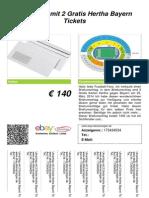 Verkaufsschild Umschlag Mit 2 Gratis Hertha Bayern Tickets