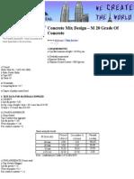 Concrete Mix Design – M 20 Grade Of Concrete