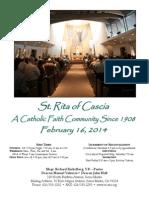 St. Rita Parish Bulletin 2/16/2014