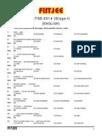 NTSE Paper Stage-I English 2014