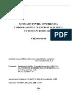 Normativ NTE 003-04-00 (Constructia Liniilor Aeriene Cu Tensiuni de Peste 1000V)