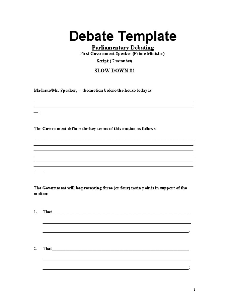 parliamentary debate template social institutions society