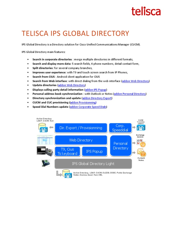 IPS Global Directory and Addons Datasheet | Ibm Notes | Active Directory