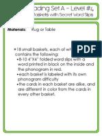 #4 Green Reading Set a - Phonogram Baskets With Secret Word Slips