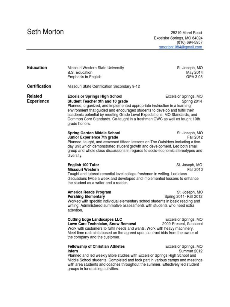 Final Resume Missouri Secondary School