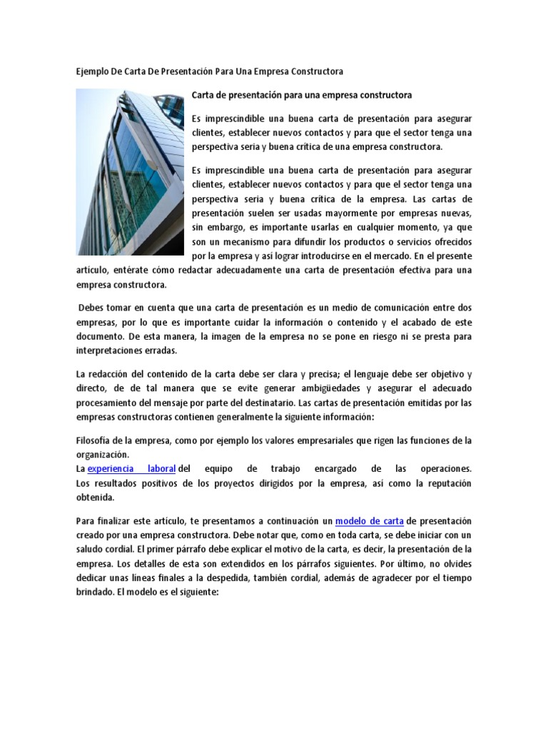 cartas de presentacion de una empresa