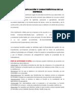 Clasificación y caracteristicas de la empresa