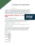 Conversão tamanho de roupas EUA x Brasil