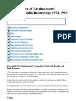 The Directory of Krishnamurti Video and Audio Recordings 1974-1986
