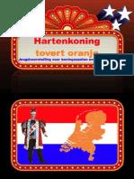 Koningsdag voorstelling kinderen schoolgoochelaar Aarnoud Agricola koningsspelen Hartenkoning tovert oranje