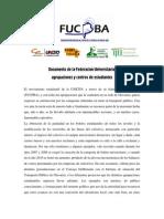 Documento de FUCPBA, agrupaciones y centros de estudiantes por el transporte público