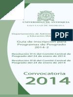Convocatoria de Posgrado 2014 Facultad de Medicina UdeA