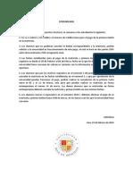 Comunicado sobre modificaciones de matrícula y pago de pensiones. Información actualizada
