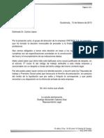 Carta de Despido Justificado Obra Determinada