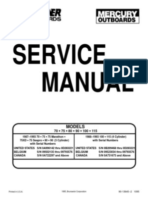 [TVPR_3874]  Outboard Manual 70-75-80-90-100-115 | Internal Combustion Engine | Ignition  System | 1990 Mercury 115 Hp Outboard Parts Diagram Wiring |  | Scribd